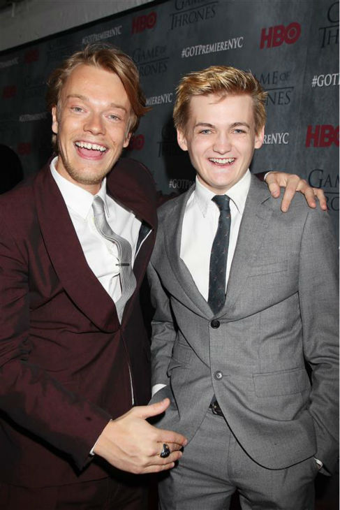 &#39;Game of Thrones&#39; stars Alfie Allen &#40;Theon Greyjoy&#41; and Jack Gleeson &#40;King Joffrey&#41; appear at the season 4 premiere of the hit HBO series in New York on March 18, 2014. The show returns on April 6. <span class=meta>(Dave Allocca &#47; Startraksphoto.com)</span>