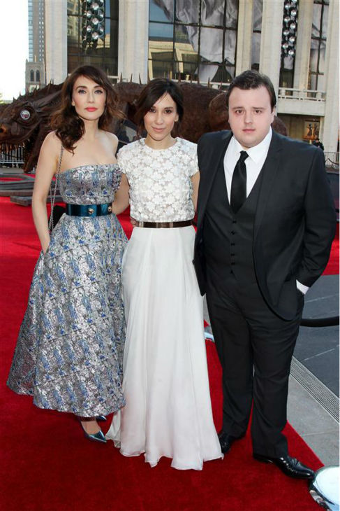 &#39;Game of Thrones&#39; stars Carice Van Houten &#40;Melisandre&#41;, Sibel Kekilli &#40;Shae&#41; and John Bradley &#40;Samwell Tarly&#41; appear at the season 4 premiere of the hit HBO series in New York on March 18, 2014. The show returns on April 6. <span class=meta>(Dave Allocca &#47; Startraksphoto.com)</span>