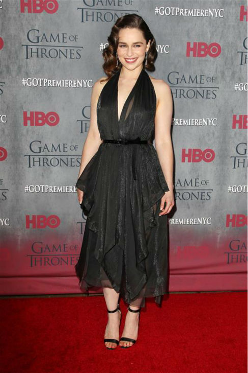 "<div class=""meta image-caption""><div class=""origin-logo origin-image ""><span></span></div><span class=""caption-text"">'Game of Thrones' star Emilia Clarke (Daenerys Targaryen) appears at the season 4 premiere of the hit HBO series in New York on March 18, 2014. The show returns on April 6. She is wearing a Donna Karan Ready-To-Wear Fall 2014 halter dress. (Kristina Bumphrey / Startraksphoto.com)</span></div>"