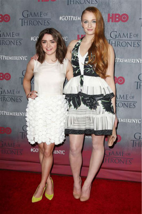 &#39;Game of Thrones&#39; star Maisie Williams &#40;Arya Stark&#41; and Sophie Turner &#40;Sansa Stark, Arya&#39;s sister&#41; appear at the season 4 premiere of the hit HBO series in New York on March 18, 2014. The show returns on April 6. <span class=meta>(Kristina Bumphrey &#47; Startraksphoto.com)</span>