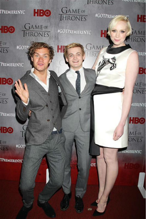 &#39;Game of Thrones&#39; stars Finn Jones &#40;Loras Tyrell&#41;, Jack Gleeson &#40;King Joffrey&#41; and Gwendoline Christie &#40;Brienne of Tarth&#41; appear at the season 4 premiere of the hit HBO series in New York on March 18, 2014. The show returns on April 6. <span class=meta>(Dave Allocca &#47; Startraksphoto.com)</span>