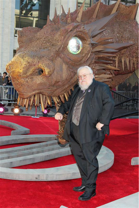 &#39;Game of Thrones&#39; creator George R. R. Martin appears with a friend at the season 4 premiere of the hit HBO series in New York on March 18, 2014. The show returns on April 6. <span class=meta>(Dave Allocca &#47; Startraksphoto.com)</span>
