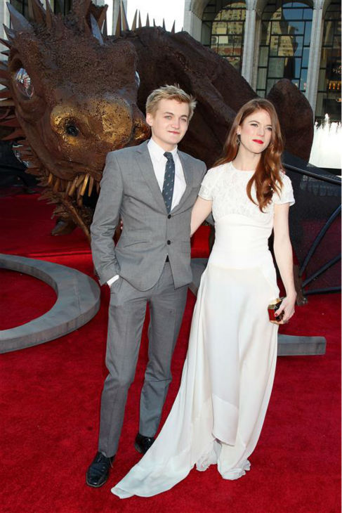 &#39;Game of Thrones&#39; stars Jack Gleeson &#40;King Joffrey&#41; and Rose Leslie &#40;Ygritte&#41; appear at the season 4 premiere of the hit HBO series in New York on March 18, 2014. The show returns on April 6. <span class=meta>(Dave Allocca &#47; Startraksphoto.com)</span>