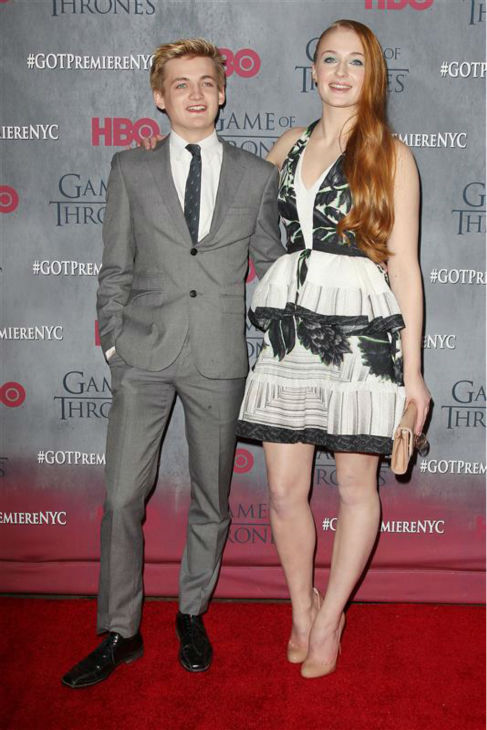&#39;Game of Thrones&#39; stars Jack Gleeson &#40;King Joffrey&#41; and Sophie Turner &#40;Sansa Stark, Joffrey&#39;s ex-wife&#41; appear at the season 4 premiere of the hit HBO series in New York on March 18, 2014. The show returns on April 6. <span class=meta>(Kristina Bumphrey &#47; Startraksphoto.com)</span>