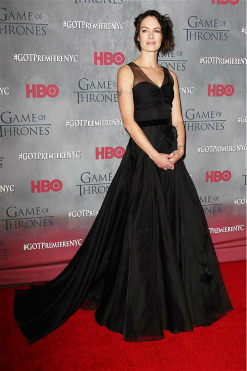 "<div class=""meta image-caption""><div class=""origin-logo origin-image ""><span></span></div><span class=""caption-text"">'Game of Thrones' star Lena Headey (Cersei Lannister) appears at the season 4 premiere of the hit HBO series in New York on March 18, 2014. The show returns on April 6. She is wearing a Jenny Packham Ready-To-Wear Fall 2013 silk organza gown. (Kristina Bumphrey / Startraksphoto.com)</span></div>"