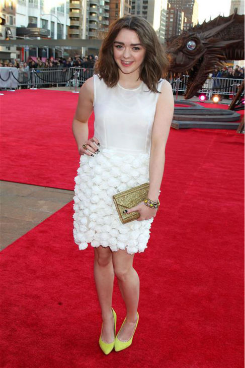 "<div class=""meta ""><span class=""caption-text "">'Game of Thrones' star Maisie Williams (Arya Stark) appears at the season 4 premiere of the hit HBO series in New York on March 18, 2014. The show returns on April 6. (Dave Allocca / Startraksphoto.com)</span></div>"