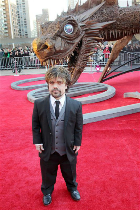 &#39;Game of Thrones&#39; star Peter Dinklage &#40;Tyrion Lannister&#41; appears with a friend at the season 4 premiere of the hit HBO series in New York on March 18, 2014. The show returns on April 6. <span class=meta>(Marion Curtis &#47; Startraksphoto.com)</span>
