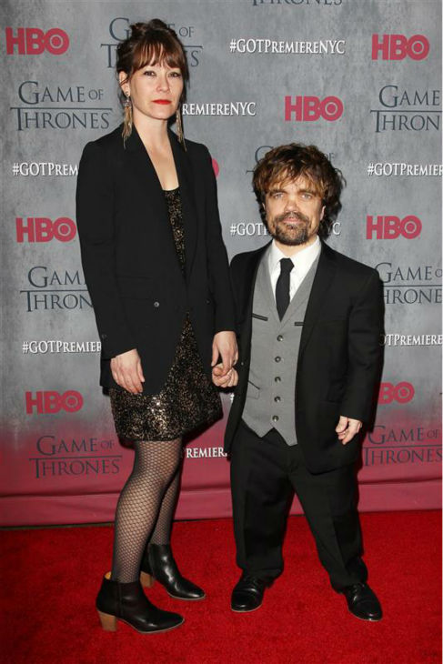 &#39;Game of Thrones&#39; star Peter Dinklage &#40;Tyrion Lannister&#41; and wife Erica Schmidt appear at the season 4 premiere of the hit HBO series in New York on March 18, 2014. The show returns on April 6. <span class=meta>(Kristina Bumphrey &#47; Startraksphoto.com)</span>