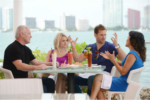 "<div class=""meta ""><span class=""caption-text "">Juan Pablo Galavis, star of ABC's 'The Bachelor' season 18, and winner Nikki Ferrell, have lunch with Jim and Elizabeth Carroll, stars of the WE tv reality show 'Marriage Boot Camp,' at Rusty Pelican Miami on March 18, 2014. (Seth Browarnik / Startraksphoto.com)</span></div>"