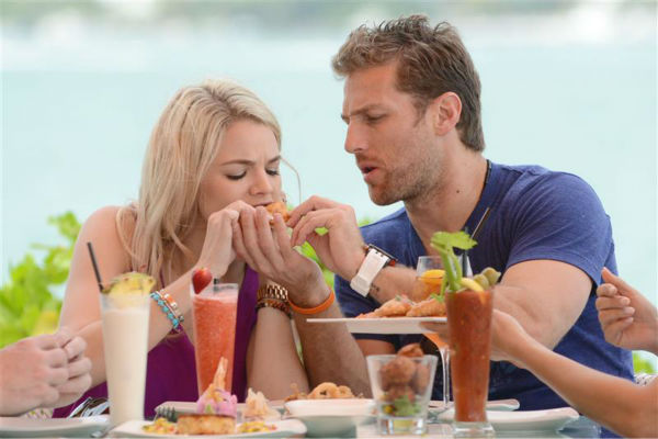 "<div class=""meta ""><span class=""caption-text "">Juan Pablo Galavis, star of ABC's 'The Bachelor' season 18, and winner Nikki Ferrell, have lunch with Jim and Elizabeth Carroll, stars of the WE tv reality show 'Marriage Boot Camp,' (not pictured) at Rusty Pelican Miami on March 18, 2014. (Seth Browarnik / Startraksphoto.com)</span></div>"