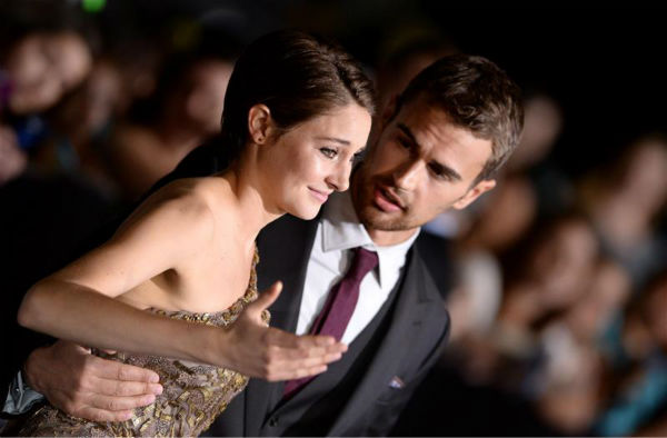 Shailene Woodley &#40;Tris&#41; and Theo James &#40;Four&#41; appear at the premiere of &#39;Divergent&#39; in Los Angeles on March 18, 2014. <span class=meta>(Lionel Hahn &#47; AbacaUSA &#47; Startraksphoto.com)</span>