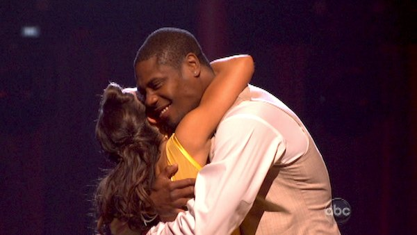 NFL star Jacoby Jones and his partner Karina Smirnoff react to being safe from elimination on &#39;Dancing With The Stars: The Results Show&#39; on April 23, 2013. The pair received 23 out of 30 points from the judges for their Quickstep dance on week six of &#39;Dancing With The Stars,&#39; which aired on April 22, 2013. <span class=meta>(ABC&#47;Adam Taylor)</span>