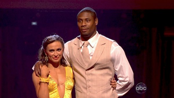 NFL star Jacoby Jones and his partner Karina Smirnoff await their fate on &#39;Dancing With The Stars: The Results Show&#39; on April 23, 2013. The pair received 23 out of 30 points from the judges for their Quickstep dance on week six of &#39;Dancing With The Stars,&#39; which aired on April 22, 2013. <span class=meta>(ABC&#47;Adam Taylor)</span>