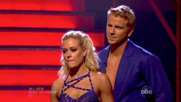 Former &#39;Bachelor&#39; star Sean Lowe and his partner Peta Murgatroyd await their fate on &#39;Dancing With The Stars: The Results Show&#39; on April 23, 2013. The pair received 21 out of 30 points from the judges for their Samba on week six of &#39;Dancing With The Stars,&#39; which aired on April 22, 2013. <span class=meta>(ABC&#47;Adam Taylor)</span>
