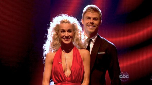 Kellie Pickler and Derek Hough await their fate on &#39;Dancing With The Stars: The Results Show&#39; on April 23, 2013. The pair received 29 out of 30 points from the judges for their Quickstep dance on week 6 of &#39;Dancing With The Stars,&#39; which aired on April 22, 2013. <span class=meta>(ABC Photo &#47; Adam Taylor)</span>