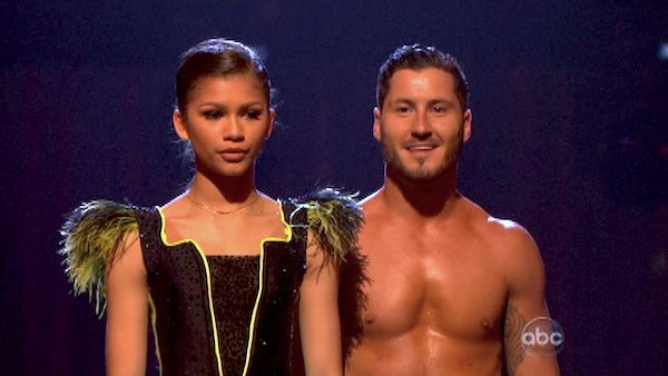 Zendaya and Val Chmerkovskiy await their fate on &#39;Dancing With The Stars: The Results Show&#39; on April 23, 2013. The pair received 29 out of 30 points from the judges for their Cha Cha Cha on week 6 of &#39;Dancing With The Stars,&#39; which aired on April 22, 2013. <span class=meta>(ABC Photo &#47; Adam Taylor)</span>