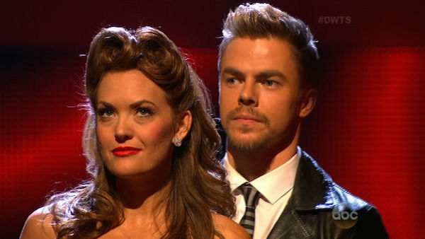 "<div class=""meta ""><span class=""caption-text "">Amy Purdy and Derek Hough await their fate on week two of 'Dancing With The Stars' on March 24, 2014. They received 24 out of 30 points from the judges for their Swing routine. (ABC Photo)</span></div>"