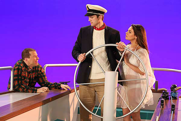 "<div class=""meta ""><span class=""caption-text "">Mila Kunis appears on the April 10, 2014 episode of 'Two and a Half Men' alongside Ashton Kutcher. The two are reportedly engaged and expecting their first child together. (Robert Voets / CBS)</span></div>"