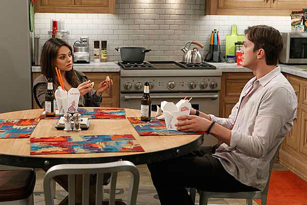 Mila Kunis appears on the April 10, 2014 episode of &#39;Two and a Half Men&#39; alongside Ashton Kutcher. The two are reportedly engaged and expecting their first child together. <span class=meta>(Sonja Flemming &#47; CBS)</span>