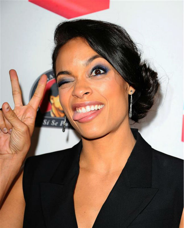 Rosario Dawson makes a funny face at the 2014 Cesar Chavez Foundation Legacy Awards dinner in Los Angeles on March 27, 2014. She stars in the film &#39;Cesar Chavez,&#39; which was released a day later. <span class=meta>(Daniel Robertson &#47; Startraksphoto.com)</span>