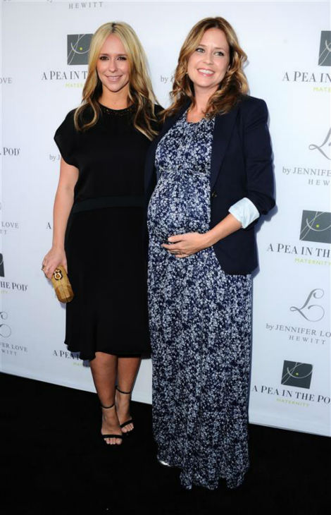 Jennifer Love Hewitt, debuting a new, blonde hairstyle, and &#39;The Office&#39; alum Jenna Fischer, who is pregnant with her second child, appear at A Pea In The Pod maternity wear&#39;s celebration of the launch of Hewitt&#39;s maternity fashion collection, L By Jennifer Love Hewitt, in Beverly Hills, California on April 1, 2014. Hewitt and her husband welcomed their first child, a baby girl, in November 2013. <span class=meta>(Sara De Boer &#47; Startraksphoto.com)</span>