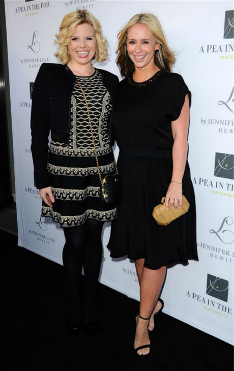 Jennifer Love Hewitt, debuting a new, blonde hairstyle, and &#39;Smash&#39; alum Megan Hilty, who is pregnant with her first child, appear at A Pea In The Pod maternity wear&#39;s celebration of the launch of Hewitt&#39;s maternity fashion collection, L By Jennifer Love Hewitt, in Beverly Hills, California on April 1, 2014. Hewitt and her husband welcomed their first child, a baby girl, in November 2013. <span class=meta>(Sara De Boer &#47; Startraksphoto.com)</span>