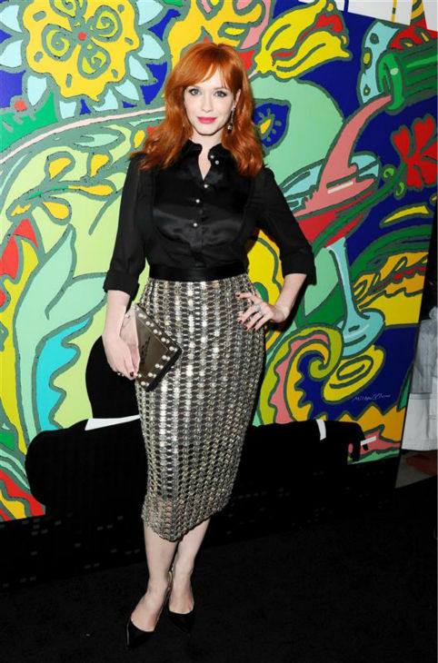 "<div class=""meta image-caption""><div class=""origin-logo origin-image ""><span></span></div><span class=""caption-text"">Christina Hendricks (Joan Harris) appears at the season 7 premiere of AMC's 'Mad Men' in Hollywood, California on April 2, 2014. She is wearing a metallic Wes Gordon Spring 2014 skirt. (Daniel Robertson / Startraksphoto.com)</span></div>"