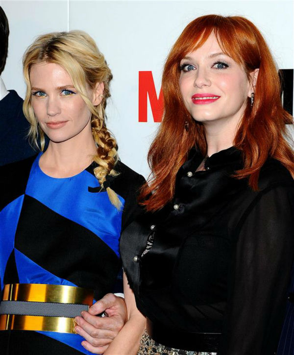 "<div class=""meta image-caption""><div class=""origin-logo origin-image ""><span></span></div><span class=""caption-text"">January Jones (Betty Francis, formerly Draper) and Christina Hendricks (Joan Harris) appear at the season 7 premiere of AMC's 'Mad Men' in Hollywood, California on April 2, 2014. (Daniel Robertson / Startraksphoto.com)</span></div>"