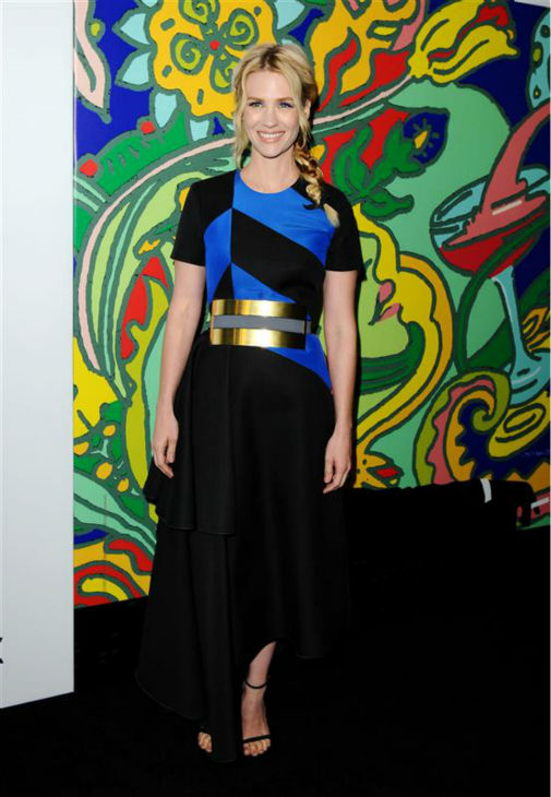 January Jones &#40;Betty Francis, formerly Draper&#41; appears at the season 7 premiere of AMC&#39;s &#39;Mad Men&#39; in Hollywood, California on April 2, 2014. She is wearing a black, blue and gold Roksanda Ilincic Fall 2014 dress. <span class=meta>(Daniel Robertson &#47; Startraksphoto.com)</span>