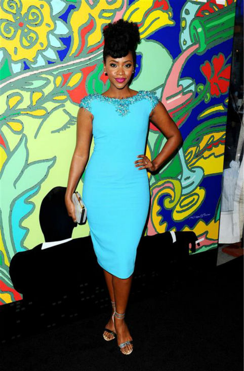 Teyonah Parris &#40;Dawn Chambers&#41; appears at the season 7 premiere of AMC&#39;s &#39;Mad Men&#39; in Hollywood, California on April 2, 2014. She is wearing a bright blue Philip Armstrong Spring 2014 dress with an embellished collar. <span class=meta>(Daniel Robertson &#47; Startraksphoto.com)</span>