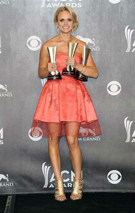 Miranda Lambert appears backstage at the 49th annual Academy of Country Music Awards in Las Vegas on April 6, 2014. She took home awards for Female Vocalist of the Year, Single of the Year for &#39;Mama&#39;s Broken Heart&#39; and Vocal Event of the Year for her duet with Keith Urban, titled &#39;We Were Us.&#39; <span class=meta>(Sara De Boer &#47; startraksphoto.com)</span>