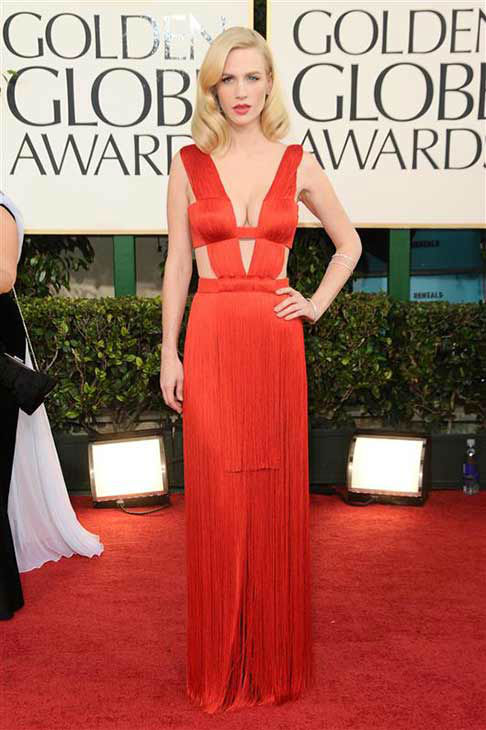 "<div class=""meta ""><span class=""caption-text "">January Jones appears at the 68th annual Golden Globe Awards in Los Angeles on Jan. 16, 2011.  (Kyle Rover / startraksphoto.com)</span></div>"