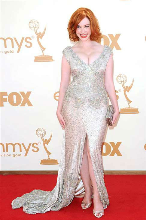 "<div class=""meta image-caption""><div class=""origin-logo origin-image ""><span></span></div><span class=""caption-text"">Christina Hendricks appears at the 63rd annual Emmy Awards in Los Angeles on Sept. 18, 2011.  (Tony DiMaio / startraksphoto.com)</span></div>"