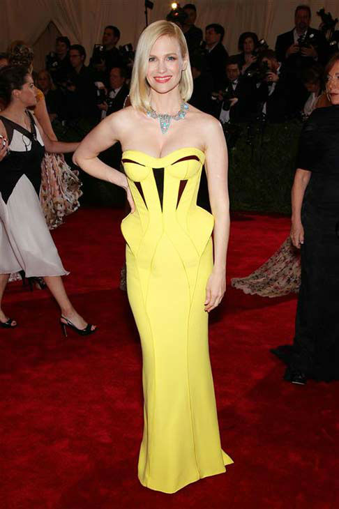 "<div class=""meta ""><span class=""caption-text "">January Jones appears at the Costume Institute Gala at the Metropolitan Museum of Art in New York City on May 7, 2012.  (Marion Curtis / startraksphoto.com)</span></div>"