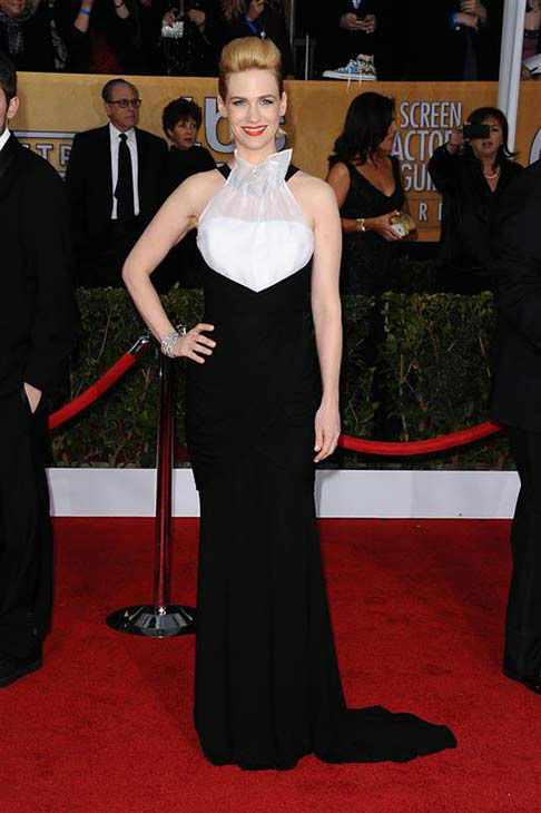 "<div class=""meta ""><span class=""caption-text "">January Jones appears at the 19th annual Screen Actors' Guild Awards in Los Angeles on Jan. 27, 2013.  (Kyle Rover / startraksphoto.com)</span></div>"