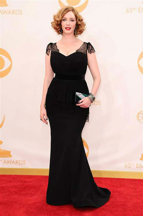 "<div class=""meta image-caption""><div class=""origin-logo origin-image ""><span></span></div><span class=""caption-text"">Christina Hendricks appears at the 65th annual Emmy Awards in Los Angeles on Sept. 22, 2013.  (Kyle Rover / startraksphoto.com)</span></div>"