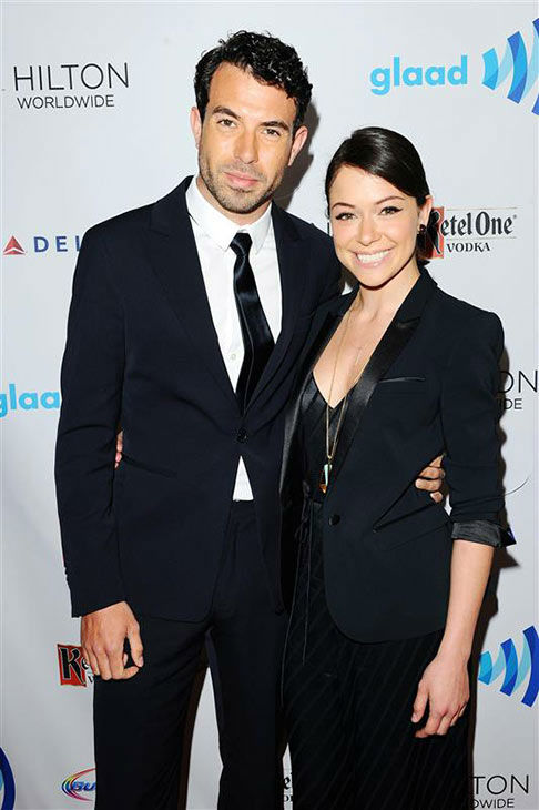 Tom Cullen and Tatiana Maslany appears at the 25th Annual GLAAD Media Awards in Beverly Hills, California, on April 12, 2014. <span class=meta>(Daniel Robertson&#47;startraksphoto.com)</span>