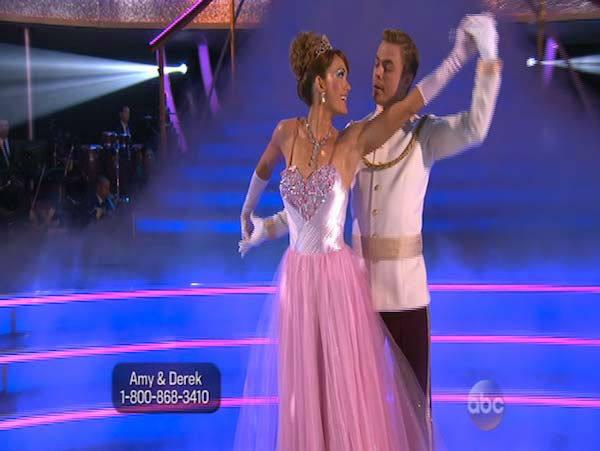 Amy Purdy and Derek Hough dance the Waltz on week 5 of &#39;Dancing With The Stars&#39; on April 14, 2014. They received 37 out of 40 points from the judges for their Waltz. <span class=meta>(ABC)</span>