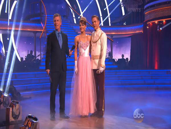 Amy Purdy and Derek Hough react to comments from the judges on week 5 of &#39;Dancing With The Stars&#39; on April 14, 2014. They received 37 out of 40 points from the judges for their Waltz. <span class=meta>(ABC)</span>