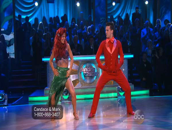 Candace Cameron Bure and Mark Ballas dance the Samba on week 5 of &#39;Dancing With The Stars&#39; on April 14, 2014. They received 35 out of 40 points from the judges for their Samba. <span class=meta>(ABC)</span>