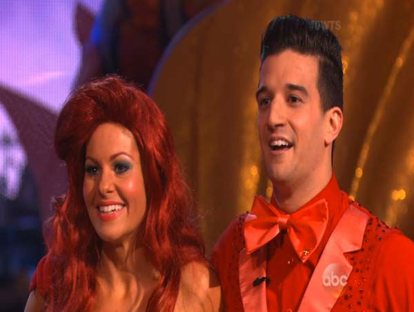 Candace Cameron Bure and Mark Ballas react to comments from the judges on week 5 of &#39;Dancing With The Stars&#39; on April 14, 2014. They received 35 out of 40 points from the judges for their Samba. <span class=meta>(ABC)</span>