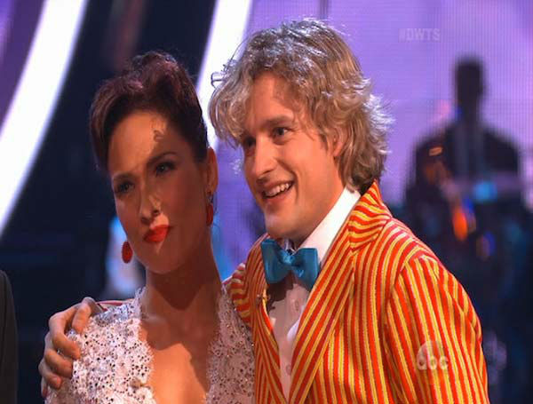 Charlie White and Sharna Burgess react to comments from the judges on week 5 of &#39;Dancing With The Stars&#39; on April 14, 2014. They received 37 out of 40 for their Jazz routine. <span class=meta>(ABC)</span>