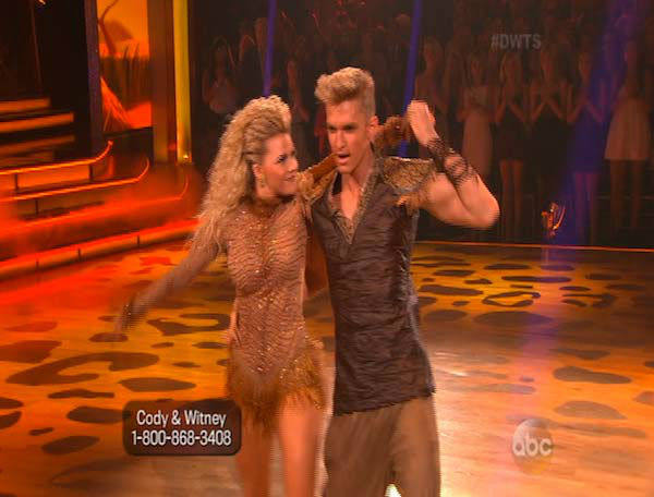Cody Simpson and Witney Carson dance the Samba on week 5 of &#39;Dancing With The Stars&#39; on April 14, 2014. They received 34 out of 40 points from the judges for their Samba. <span class=meta>(ABC)</span>