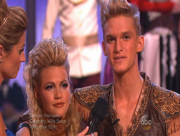 Cody Simpson and Witney Carson react to being eliminated on week 5 of &#39;Dancing With The Stars&#39; on April 14, 2014. They received 34 out of 40 points from the judges for their Samba. <span class=meta>(ABC)</span>