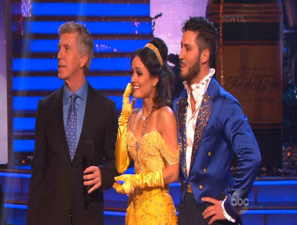 Danica McKellar and Valentin Chmerkovskiy react to comments from the judges on week 5 of &#39;Dancing With The Stars&#39; on April 14, 2014. They received 39 out of 40 points from the judges for their Quick Step. <span class=meta>(ABC)</span>
