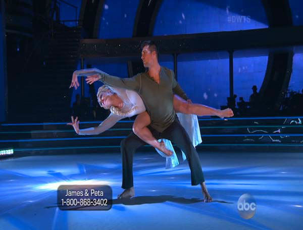 James Maslow and Peta Murgatroyd dance Contemporary on week 5 of &#39;Dancing With The Stars&#39; on April 14, 2014. They received 40 out of 40 points from the judges for their Contemporary routine. <span class=meta>(ABC)</span>