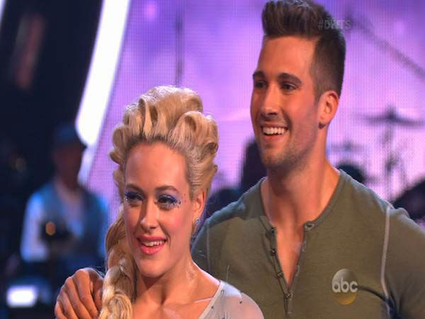 James Maslow and Peta Murgatroyd react to comments from the judges on week 5 of &#39;Dancing With The Stars&#39; on April 14, 2014. They received 40 out of 40 points from the judges for their Contemporary routine. <span class=meta>(ABC)</span>