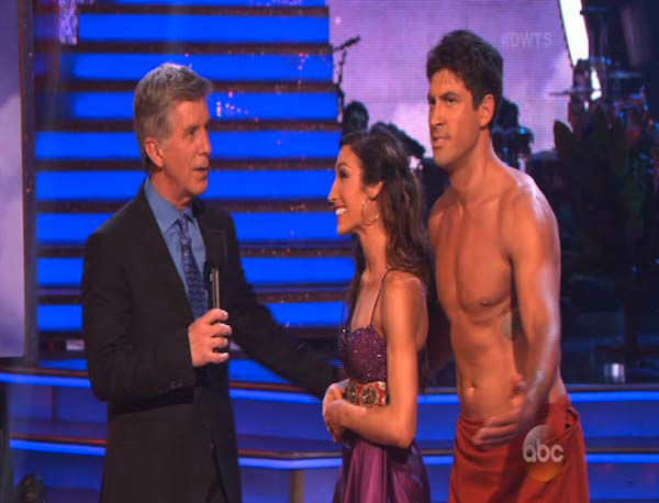 Meryl Davis and Maksim Chmerkovskiy react to comments from the judges on week 5 of &#39;Dancing With The Stars&#39; on April 14, 2014. They received 36 out of 40 points from the judges for their Samba. <span class=meta>(ABC)</span>