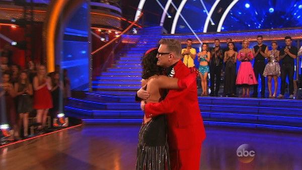 Drew Carey and Cheryl Burke react to being eliminated on week six of &#39;Dancing With The Stars&#39; on April 21, 2014. They received 32 out of 40 points from the judges for their Tango. <span class=meta>(ABC)</span>