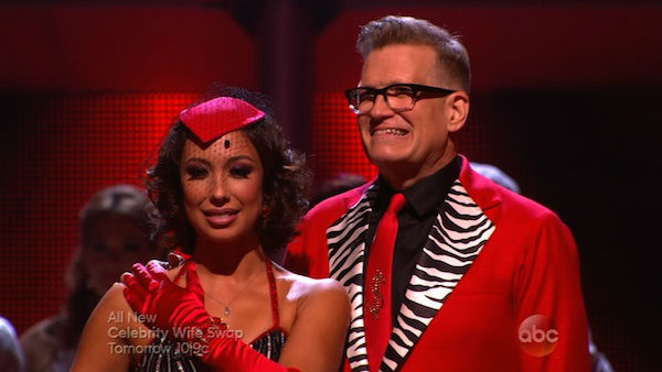 Drew Carey and Cheryl Burke await their fate on week six of &#39;Dancing With The Stars&#39; on April 21, 2014. They received 32 out of 40 points from the judges for their Tango. <span class=meta>(ABC)</span>
